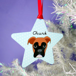 Boxer Dog Personalised Christmas Decoration - Polka Dot  - Hoobynoo - Personalised Pet Tags and Gifts