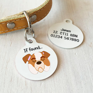Old English Bulldog Personalised name ID Tag - White  - Hoobynoo - Personalised Pet Tags and Gifts