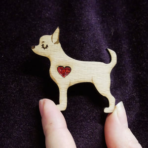 Chihuahua Wooden Brooch with Glitter Heart Detail