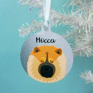 Chow Chow Sliver Printed Personalised Christmas Decoration  - Hoobynoo - Personalised Pet Tags and Gifts