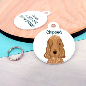 Cocker Spaniel Portrait Personalised name ID Tag - White  - Hoobynoo - Personalised Pet Tags and Gifts