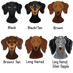 Personalised Dachshund Portrait Dog Name Tag - HEART  - Hoobynoo - Personalised Pet Tags and Gifts