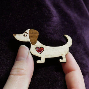 Short Hair Dachshund Wooden Brooch with Glitter Heart Detail