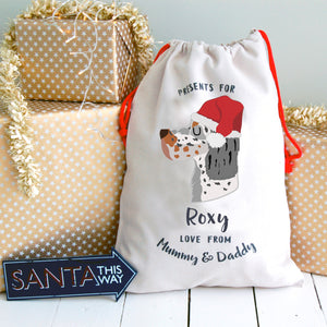 English Setter Personalised Christmas Present Sack  - Hoobynoo - Personalised Pet Tags and Gifts