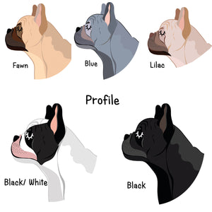 French Bulldog Profile Personalised name ID Tag - White  - Hoobynoo - Personalised Pet Tags and Gifts