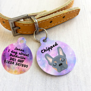 Personalised French Bulldog Dog ID tag - Universe  - Hoobynoo - Personalised Pet Tags and Gifts