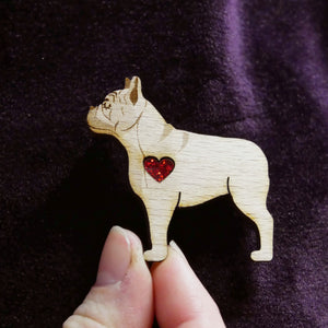 Wooden French Bulldog Brooch with Glitter Heart Detail