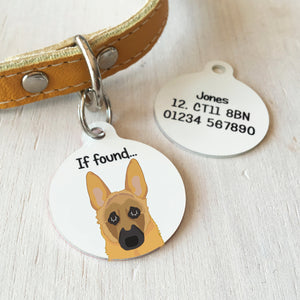 German Shepherd Personalised name ID Tag - White  - Hoobynoo - Personalised Pet Tags and Gifts