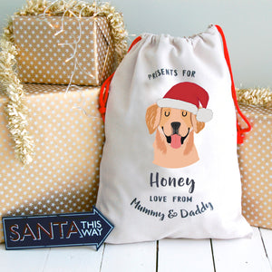 Golden Retriever Personalised Christmas Present Sack