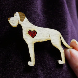 Great Dane Wooden Brooch with Glitter Heart Detail