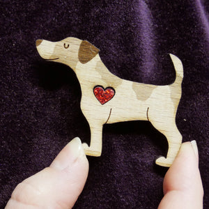 Jack Russell Wooden Brooch with Glitter Heart Detail