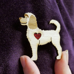 Labradoodle Wooden Brooch with Glitter Heart Detail