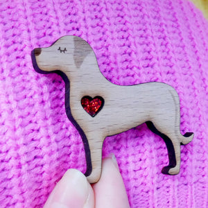 Labrador Brooch with Glitter Heart Detail