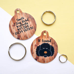 Personalised Dog Name ID Tag - Natural Wood