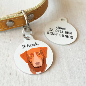 Nova Scotia Duck Tolling Retriever Personalised Dog Tag - WHITE