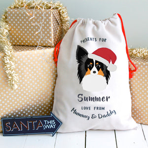 Papillon Personalised Christmas Present Sack
