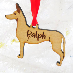 Spanish Podenco Personalised Wooden Christmas Decoration  - Hoobynoo - Personalised Pet Tags and Gifts