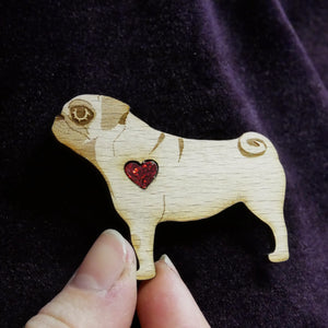 Wooden Pug Brooch with Glitter Heart Detail