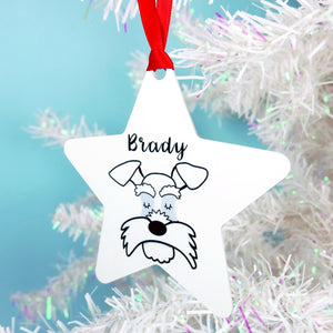 Schnauzer Christmas Decoration - Monochrome  - Hoobynoo - Personalised Pet Tags and Gifts
