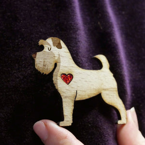 Schnauzer Wooden Brooch with Glitter Heart Detail