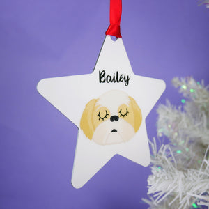 Personalised Shih Tzu Christmas Decoration - White  - Hoobynoo - Personalised Pet Tags and Gifts