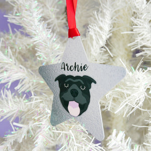 Personalised Staffie Christmas Decoration - Silver Design  - Hoobynoo - Personalised Pet Tags and Gifts