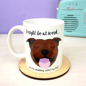 Thinking of My Dog Mug - Staffordshire Bull Terrier  - Hoobynoo - Personalised Pet Tags and Gifts
