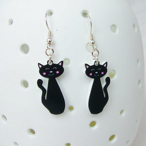Black Cat Cute Acrylic Earrings