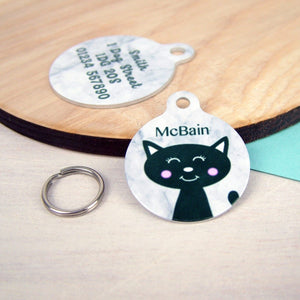 Personalised Cat ID Tag - Marble Print  - Hoobynoo - Personalised Pet Tags and Gifts