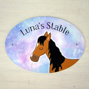 Horse Stable Name Plaque - Stable Door Sign  - Hoobynoo - Personalised Pet Tags and Gifts