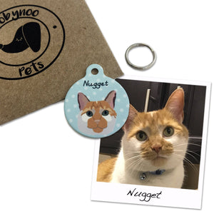 Bespoke Cat Portrait ID Tag  - Hoobynoo - Personalised Pet Tags and Gifts