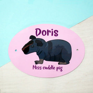 Personalised Guinea Pig/Skinny Pig Sign  - Hoobynoo - Personalised Pet Tags and Gifts