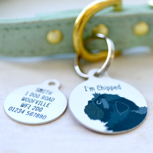 Affenpinscher Personalised name ID Tag - White