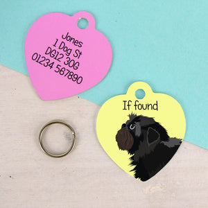 Affenpinscher Heart Shaped Personalised Dog ID Tag