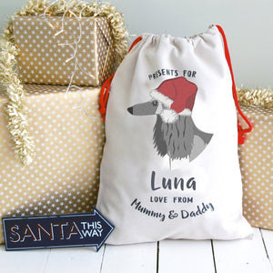 Afghan Hound Dog Treat / Christmas Sack  - Hoobynoo - Personalised Pet Tags and Gifts