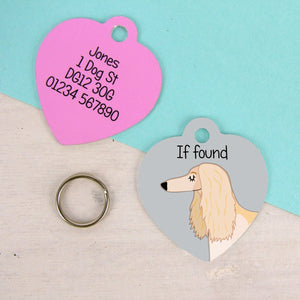 Afghan Hound Heart Shaped Personalised Dog ID Tag