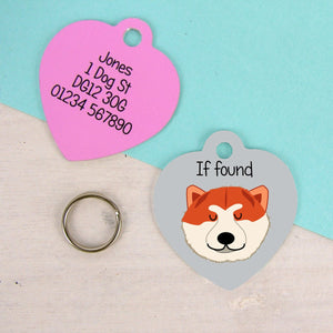 Japanese Akita Heart shaped Personalised Pet ID Dog tag