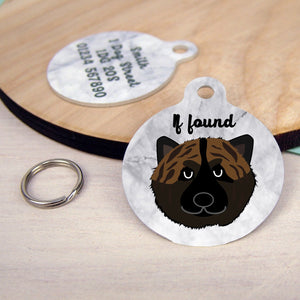Japanese Akita Personalised Dog Tag - Marble Print  - Hoobynoo - Personalised Pet Tags and Gifts