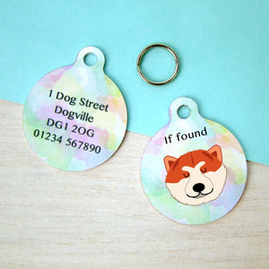 Japanese Akita Watercolour Personalised Dog ID Tag  - Hoobynoo - Personalised Pet Tags and Gifts