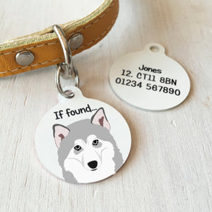 Alaskan Malamute Personalised name ID Tag - White  - Hoobynoo - Personalised Pet Tags and Gifts
