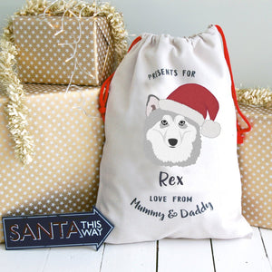 Alaskan Malamute Dog Treat / Christmas Sack  - Hoobynoo - Personalised Pet Tags and Gifts