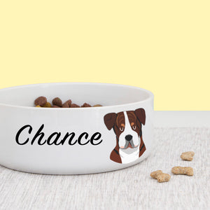 American Bulldog Dog Personalised Bold Ceramic Dog Bowl  - Hoobynoo - Personalised Pet Tags and Gifts