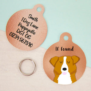 Australian Shepherd Dog Copper Personalised Dog ID Tag  - Hoobynoo - Personalised Pet Tags and Gifts