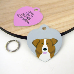 Australian Shepherd Dog Heart Shaped Personalised Dog ID Tag  - Hoobynoo - Personalised Pet Tags and Gifts
