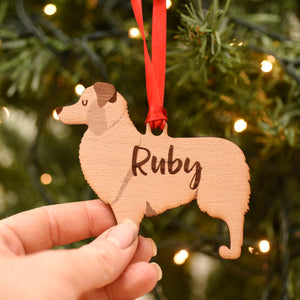 Australian Shepherd Personalised Wooden Christmas Decoration