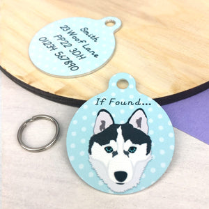Husky Personalised Pet Id Tag