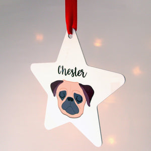 Personalised Dog Christmas Decoration Bold  - Hoobynoo - Personalised Pet Tags and Gifts