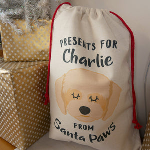Cavapoo Personalised Christmas Sack  - Hoobynoo - Personalised Pet Tags and Gifts