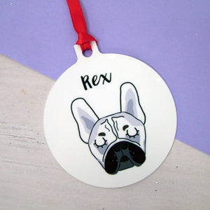 Personalised French Bulldog Christmas Decoration - Monochrome Frenchie  - Hoobynoo - Personalised Pet Tags and Gifts