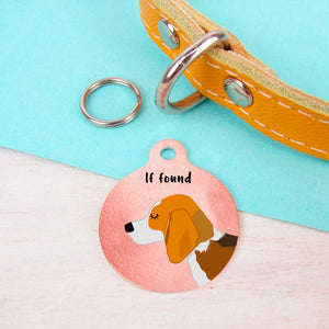 Beagle Copper Personalised Dog ID Tag  - Hoobynoo - Personalised Pet Tags and Gifts